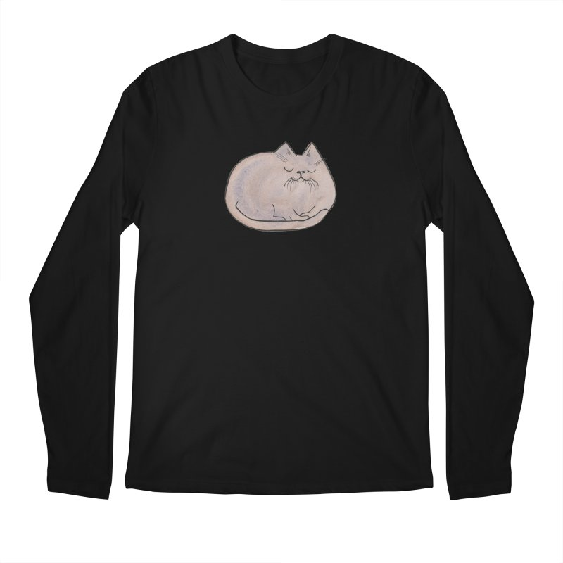 Sleepy Cat Lump Men's Longsleeve T-Shirt by Renee Leigh Stephenson Artist Shop