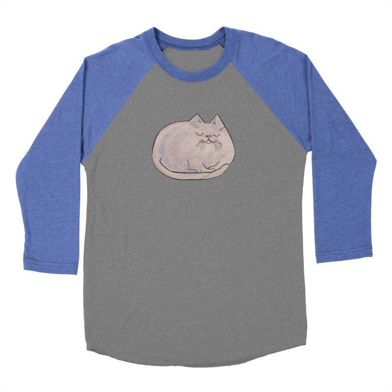 Sleepy Cat Lump Men's Baseball Triblend T-Shirt by Renee Leigh Stephenson Artist Shop
