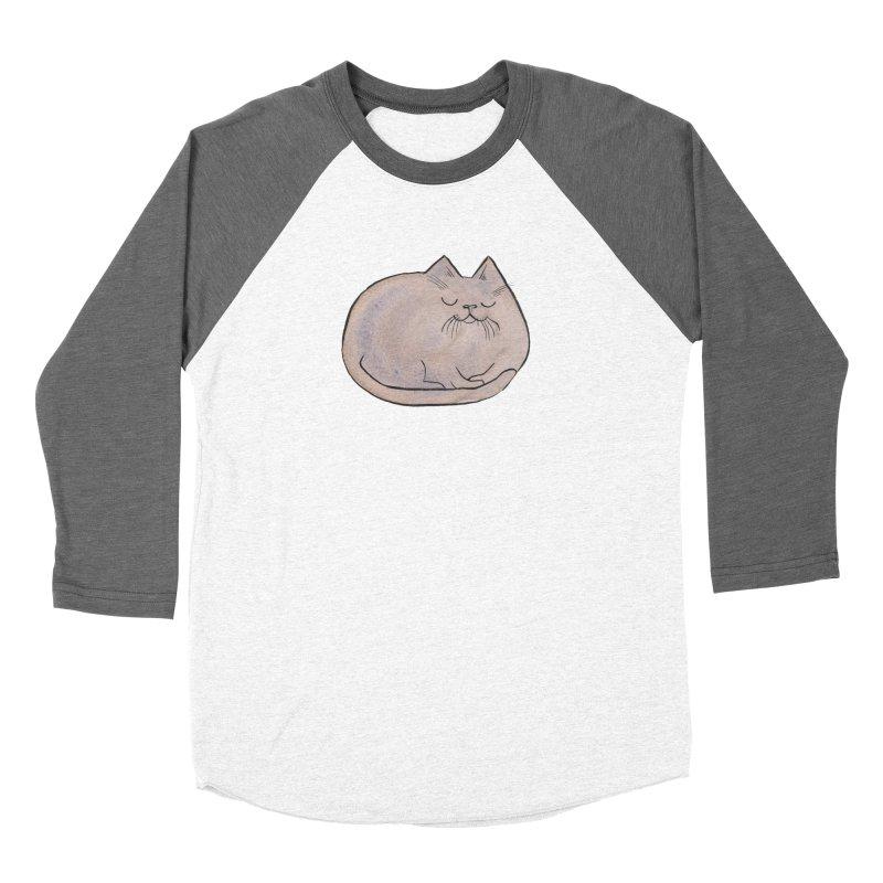 Sleepy Cat Lump Men's Baseball Triblend Longsleeve T-Shirt by Renee Leigh Stephenson Artist Shop