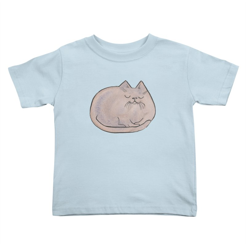 Sleepy Cat Lump Kids Toddler T-Shirt by Renee Leigh Stephenson Artist Shop