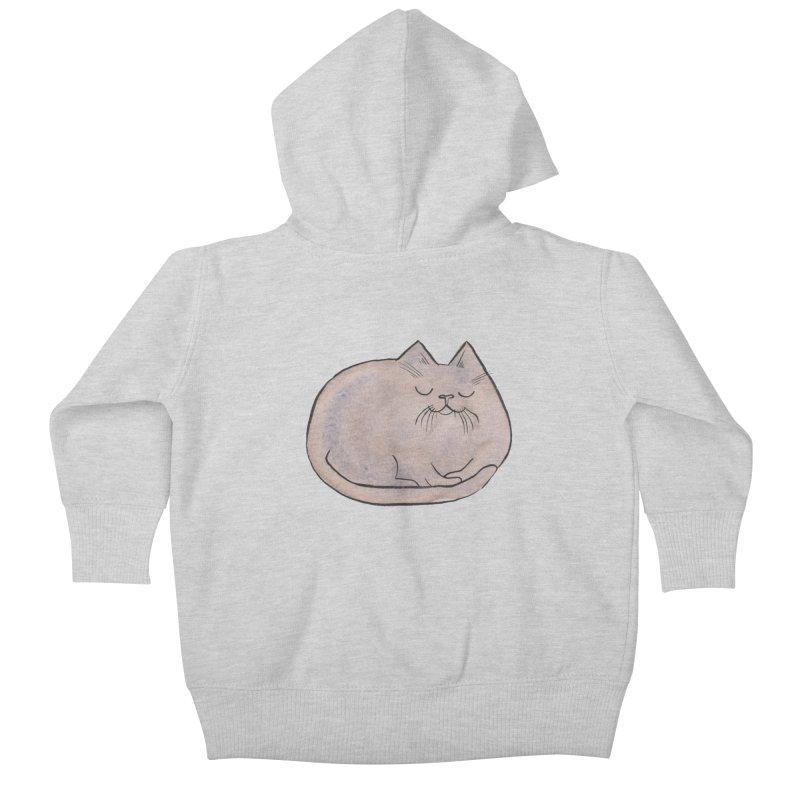 Sleepy Cat Lump Kids Baby Zip-Up Hoody by Renee Leigh Stephenson Artist Shop