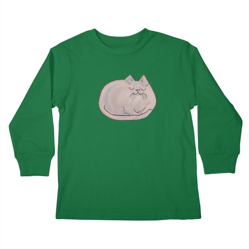 Sleepy Cat Lump Kids Longsleeve T-Shirt by Renee Leigh Stephenson Artist Shop