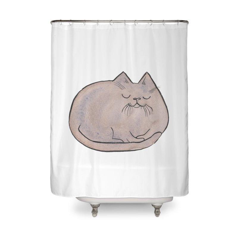 Sleepy Cat Lump Home Shower Curtain by Renee Leigh Stephenson Artist Shop