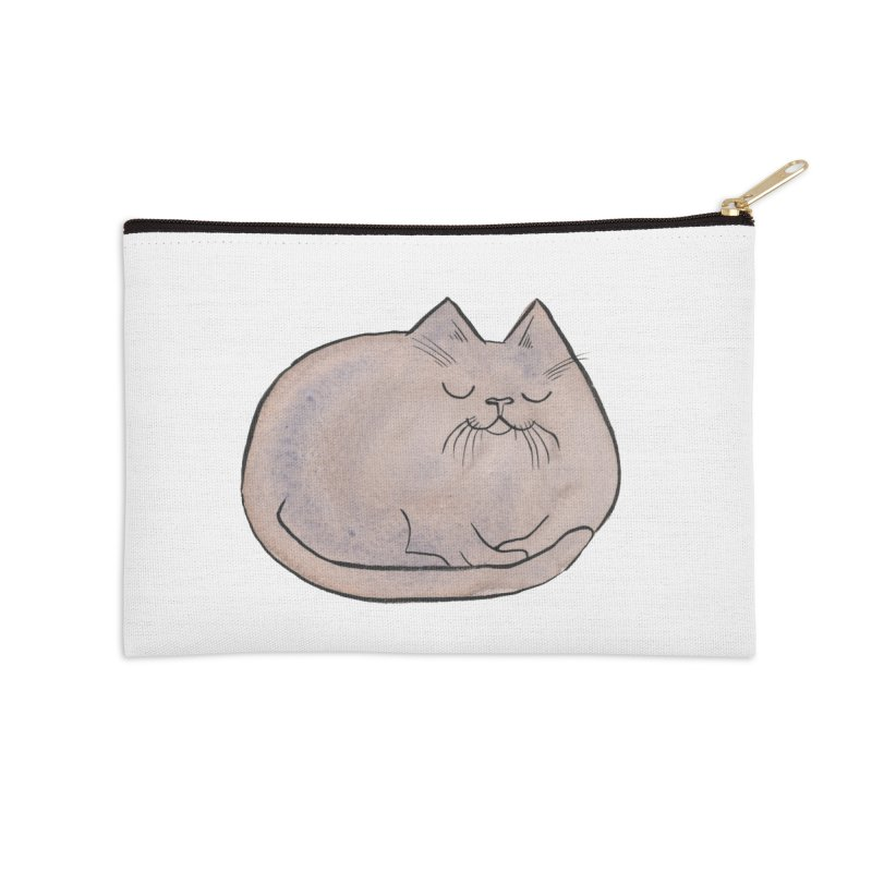 Sleepy Cat Lump Accessories Zip Pouch by Renee Leigh Stephenson Artist Shop