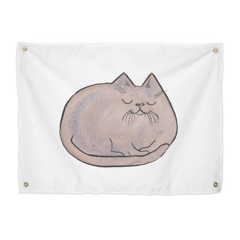 Sleepy Cat Lump Home Tapestry by Renee Leigh Stephenson Artist Shop
