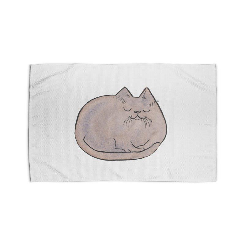 Sleepy Cat Lump Home Rug by Renee Leigh Stephenson Artist Shop