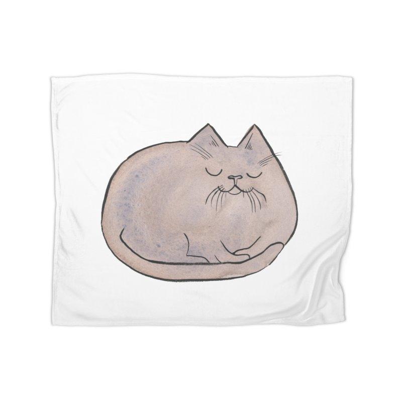 Sleepy Cat Lump Home Fleece Blanket Blanket by Renee Leigh Stephenson Artist Shop