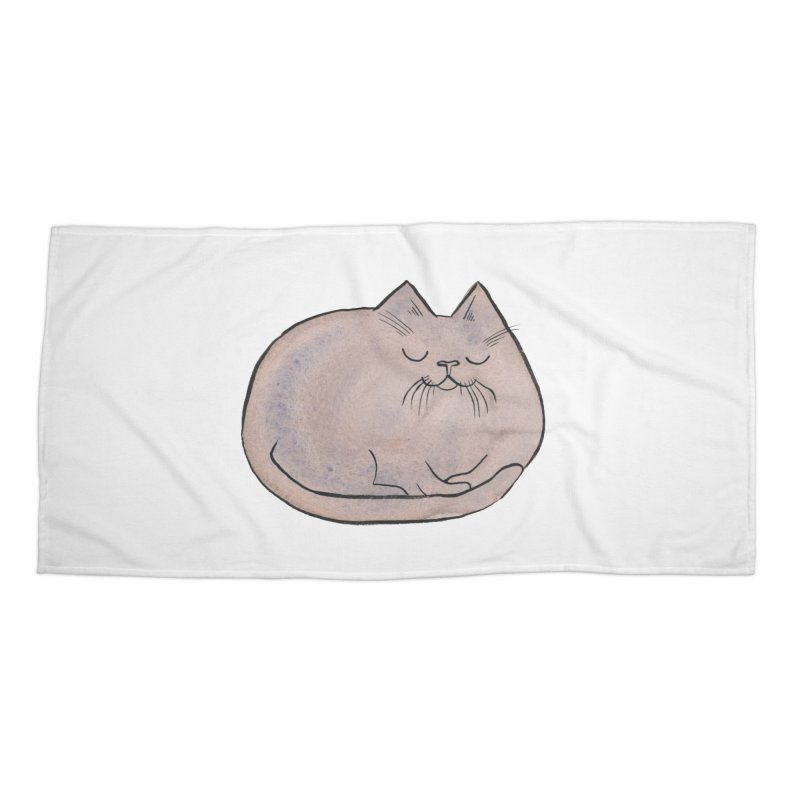 Sleepy Cat Lump Accessories Beach Towel by Renee Leigh Stephenson Artist Shop