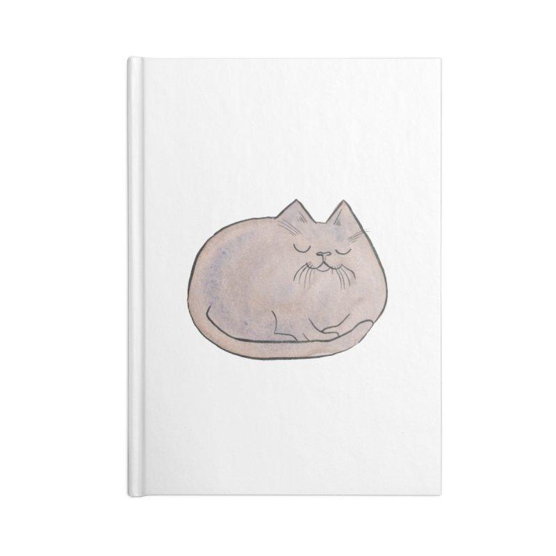 Sleepy Cat Lump Accessories Notebook by Renee Leigh Stephenson Artist Shop