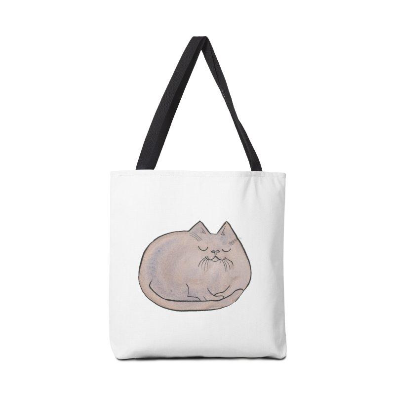 Sleepy Cat Lump Accessories Bag by Renee Leigh Stephenson Artist Shop
