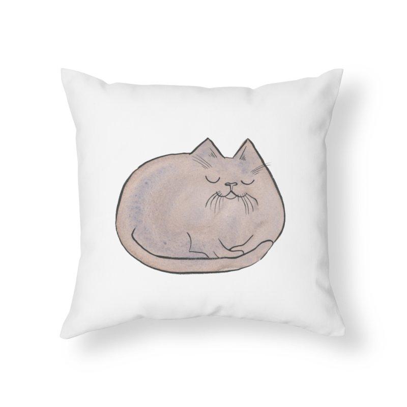 Sleepy Cat Lump Home Throw Pillow by Renee Leigh Stephenson Artist Shop