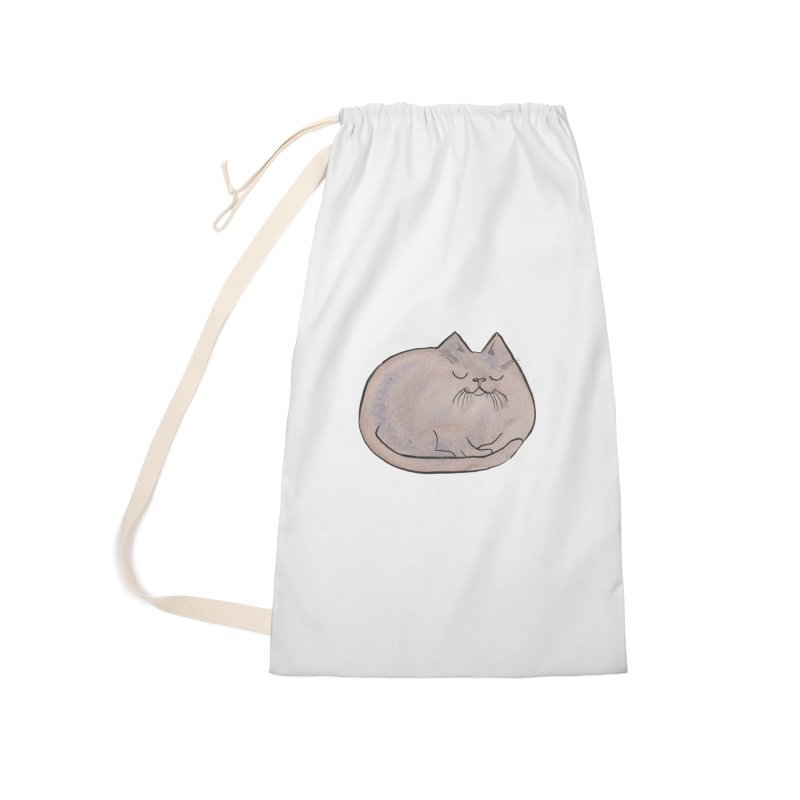Sleepy Cat Lump Accessories Laundry Bag Bag by Renee Leigh Stephenson Artist Shop
