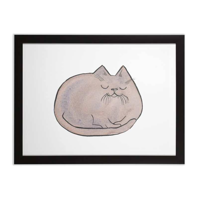 Sleepy Cat Lump Home Framed Fine Art Print by Renee Leigh Stephenson Artist Shop