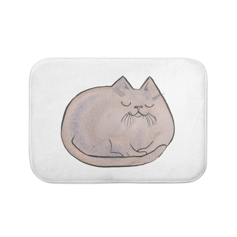 Sleepy Cat Lump Home Bath Mat by Renee Leigh Stephenson Artist Shop