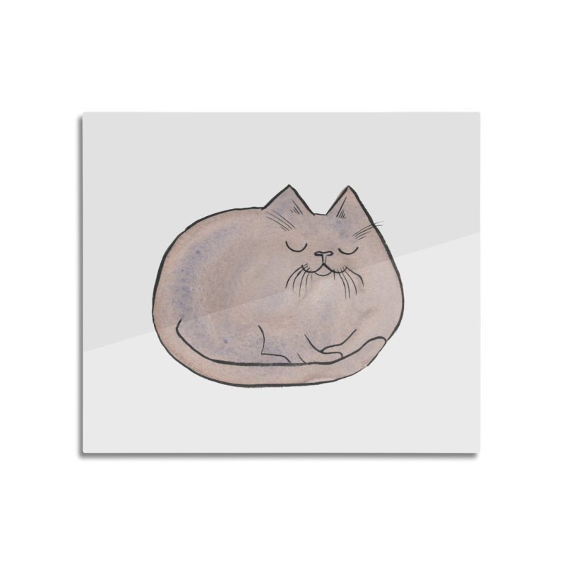 Sleepy Cat Lump Home Mounted Aluminum Print by Renee Leigh Stephenson Artist Shop