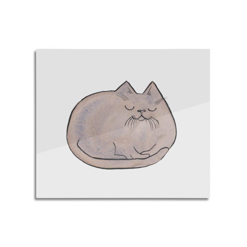 Sleepy Cat Lump Home Mounted Aluminum Print by Renee Leigh Stephenson Artist Shop