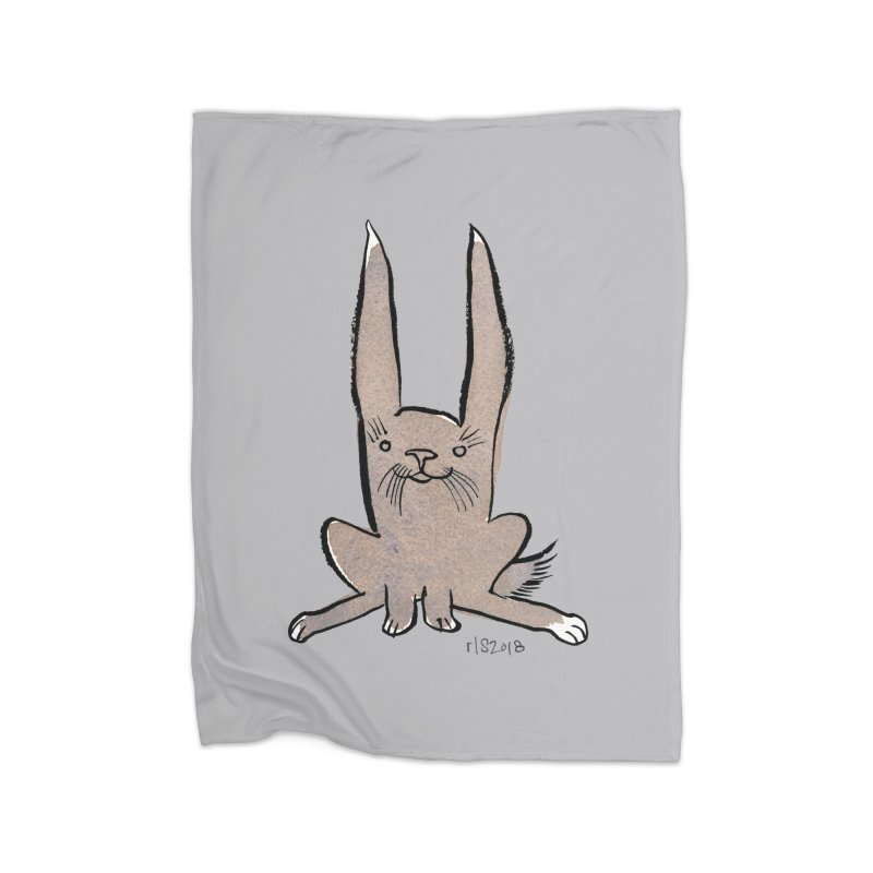Hoppy Little Rabbit Home Fleece Blanket Blanket by Renee Leigh Stephenson Artist Shop