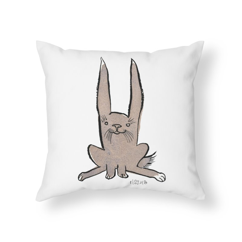 Hoppy Little Rabbit Home Throw Pillow by Renee Leigh Stephenson Artist Shop