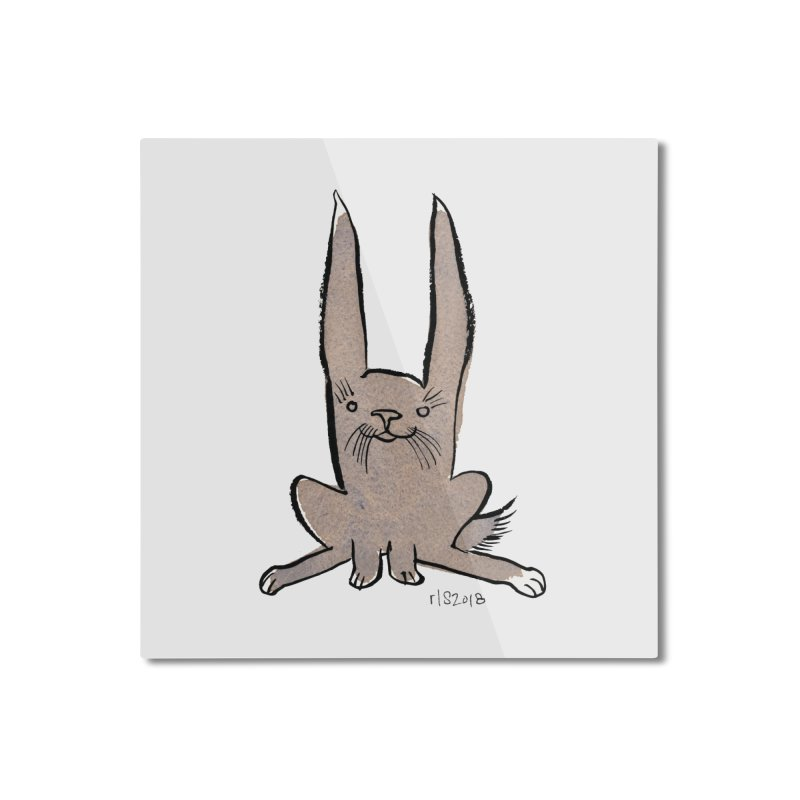 Hoppy Little Rabbit Home Mounted Aluminum Print by Renee Leigh Stephenson Artist Shop