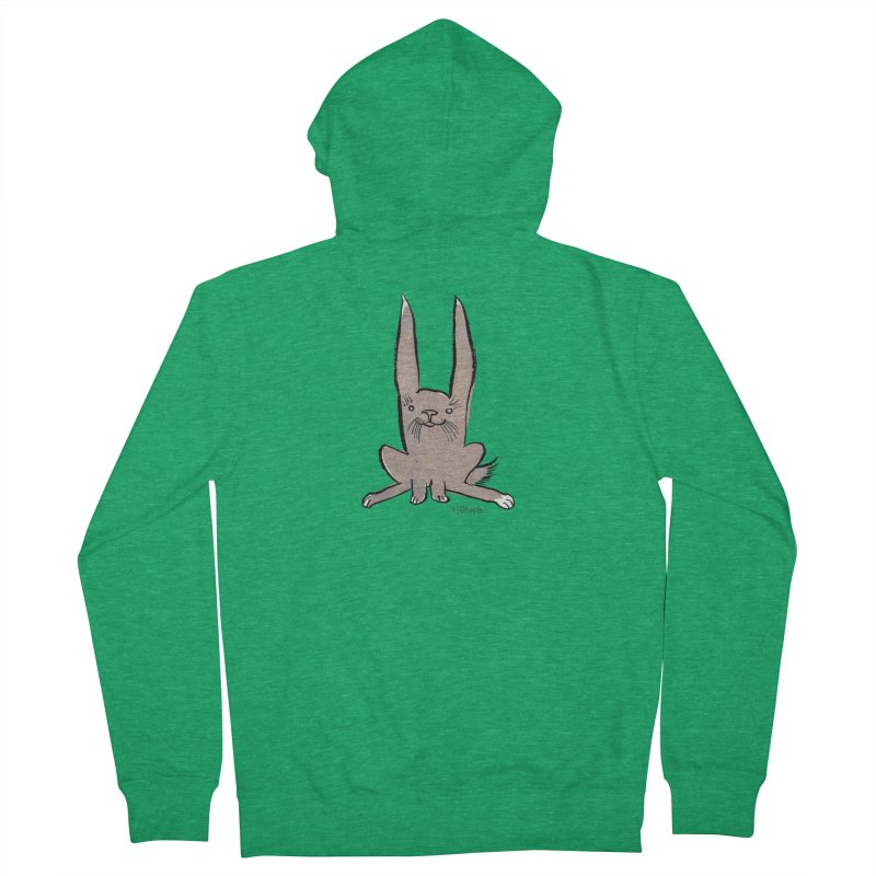 Hoppy Little Rabbit Men's French Terry Zip-Up Hoody by Renee Leigh Stephenson Artist Shop