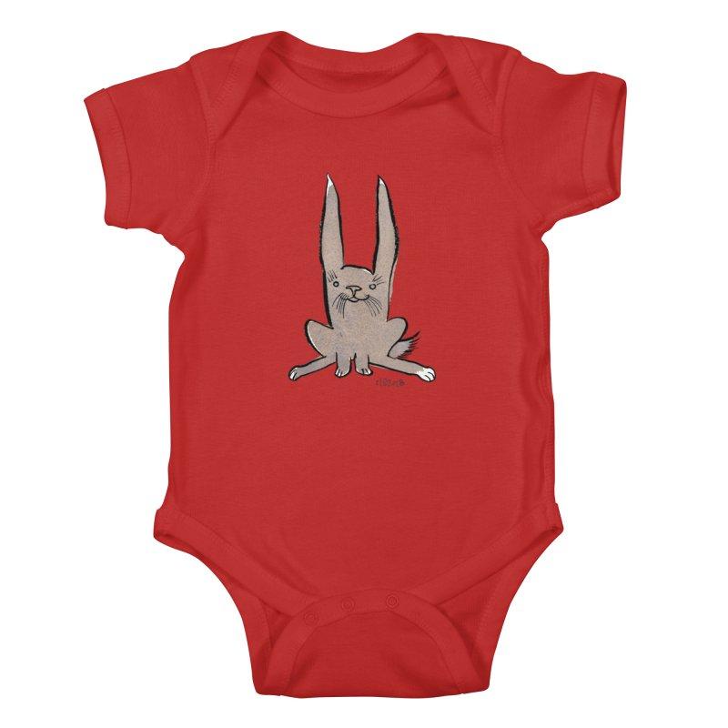 Hoppy Little Rabbit Kids Baby Bodysuit by Renee Leigh Stephenson Artist Shop