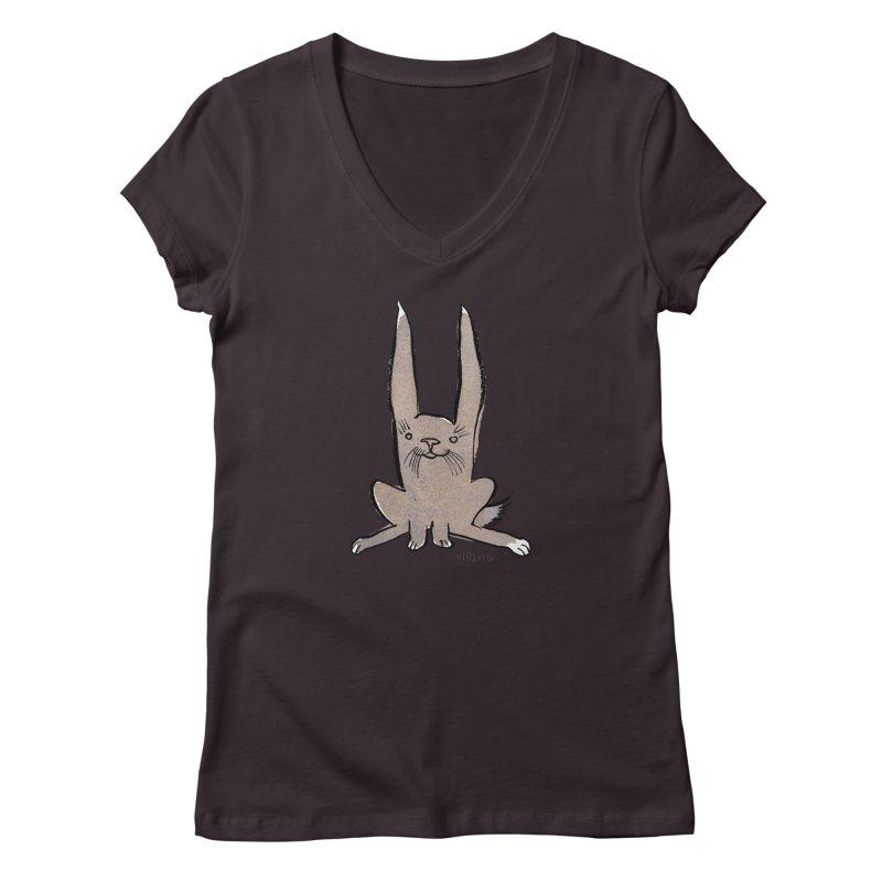 Hoppy Little Rabbit Women's Regular V-Neck by Renee Leigh Stephenson Artist Shop