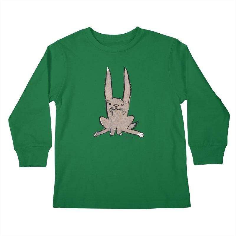 Hoppy Little Rabbit Kids Longsleeve T-Shirt by Renee Leigh Stephenson Artist Shop