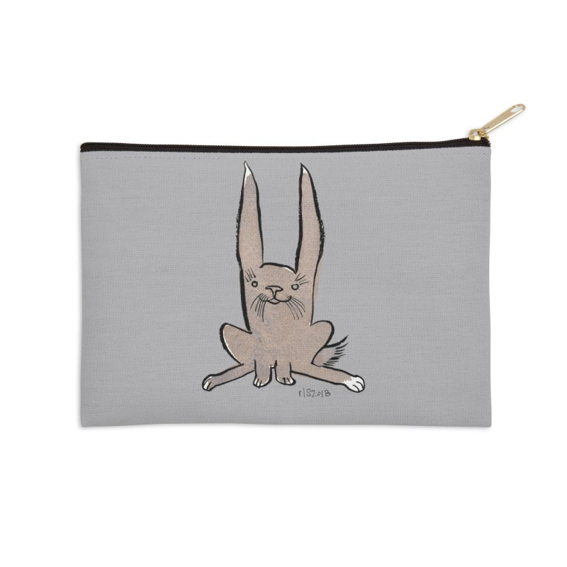 Hoppy Little Rabbit Accessories Zip Pouch by Renee Leigh Stephenson Artist Shop