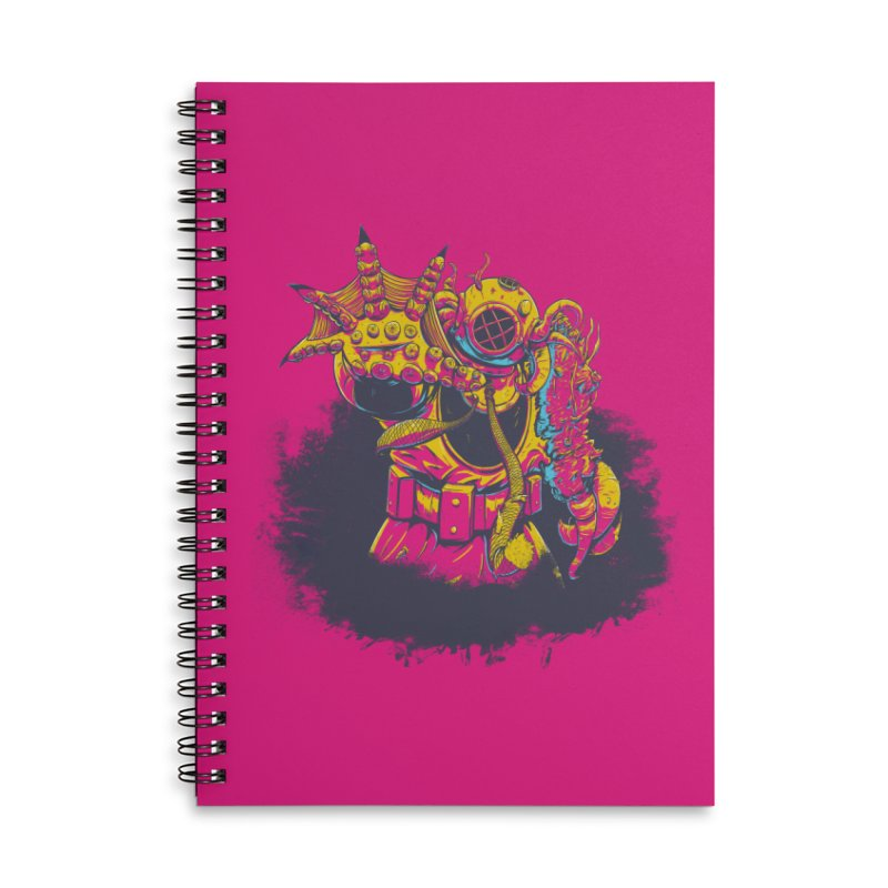 It Came From The Deep Pink Accessories Lined Spiral Notebook by Requiem's Thread Shop