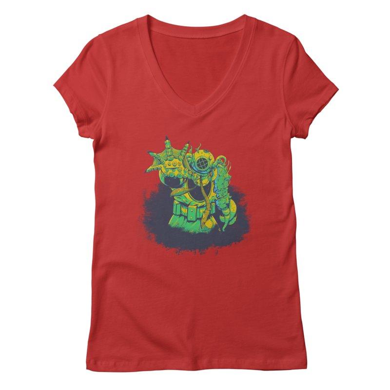 Green in the Gills  Women's Regular V-Neck by Requiem's Thread Shop