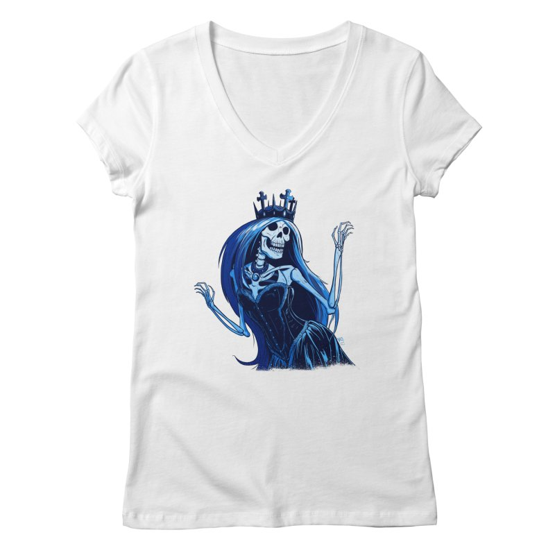 Lady Death Women's Regular V-Neck by Requiem's Thread Shop