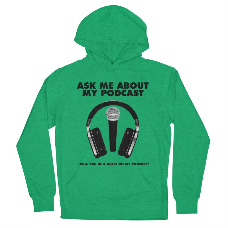 PODCASTER in Men's French Terry Pullover Hoody Heather Kelly by Reservoir Geeks