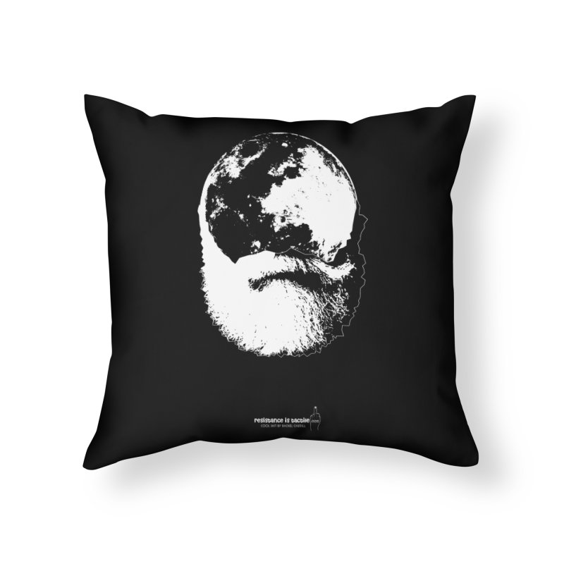 Moon Daddy Home Throw Pillow by Resistance is Tactile