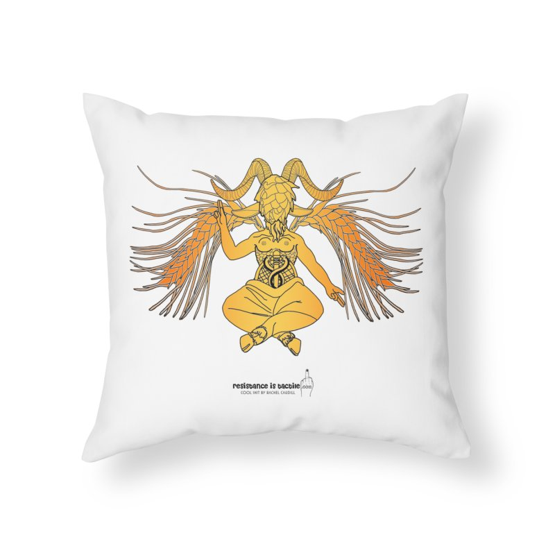 Beerphomet Home Throw Pillow by Resistance is Tactile