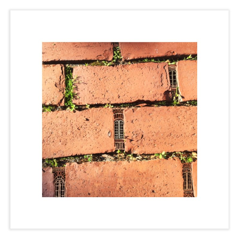 Brick Windows Home Fine Art Print by 100 Days of Drawing on Photos