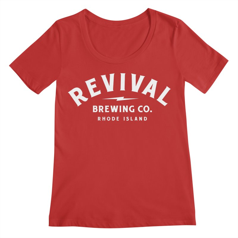 Revival Classic White Logo Women's Regular Scoop Neck by Revival Brewing