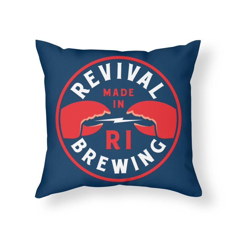 Made in RI Home Throw Pillow by Revival Brewing
