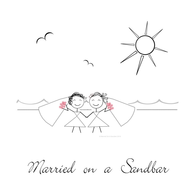 Married on a Sandbar - Two Brides Men's V-Neck by Wedding Knots Tied T-shirt Shop
