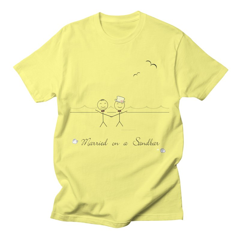 Married on a Sandbar - Two Grooms Men's T-Shirt by Wedding Knots Tied T-shirt Shop