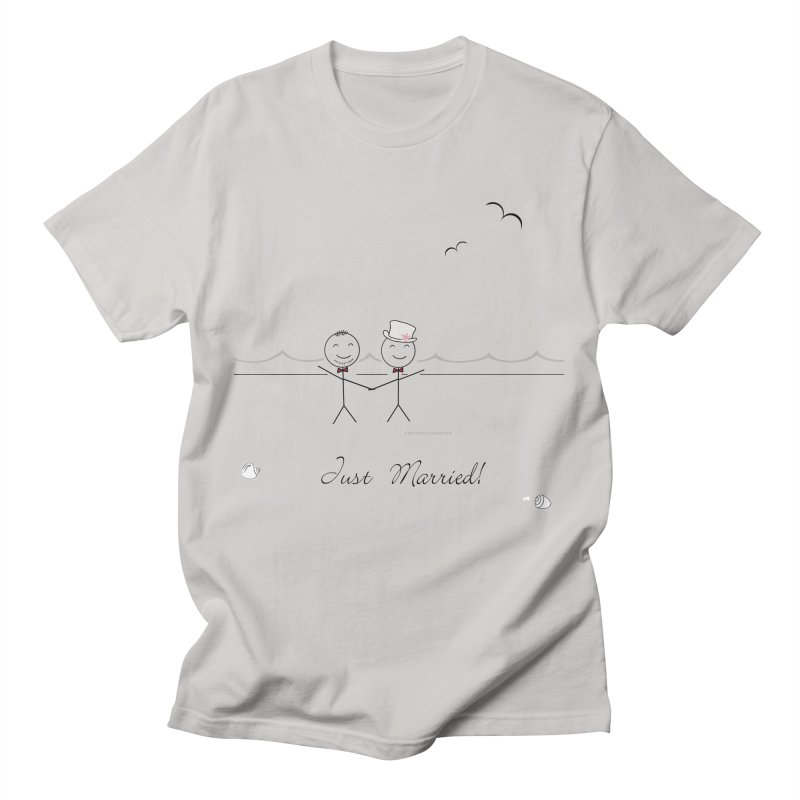 Just Married - Two Grooms Men's T-Shirt by Wedding Knots Tied T-shirt Shop