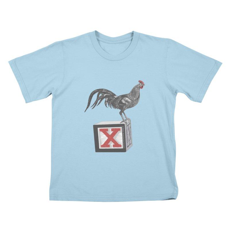 Coq Bloq in Kids T-shirt Powder Blue by Revolution Art Offensive