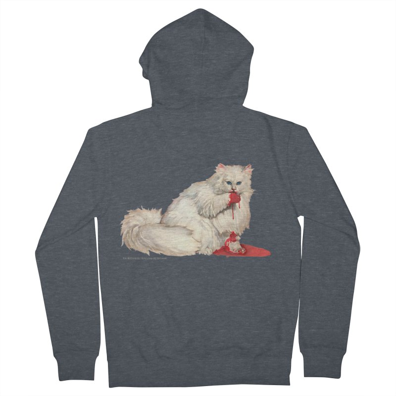 Kitty Dentata (no text) in Men's French Terry Zip-Up Hoody Heather Navy Denim by Revolution Art Offensive