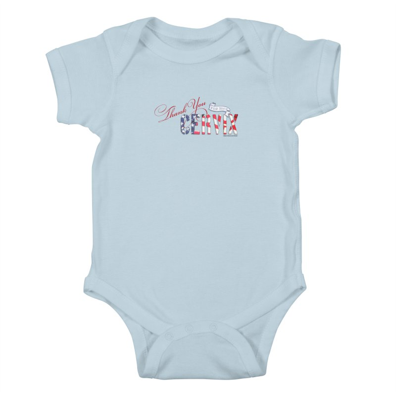 Thank You For Your Cervix Red/Blue in Kids Baby Bodysuit Baby Blue by Revolution Art Offensive