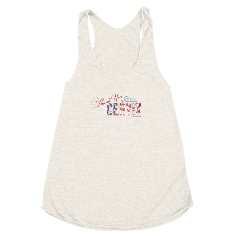 Thank You For Your Cervix Red/Blue in Women's Racerback Triblend Tank Heather Oatmeal by Revolution Art Offensive