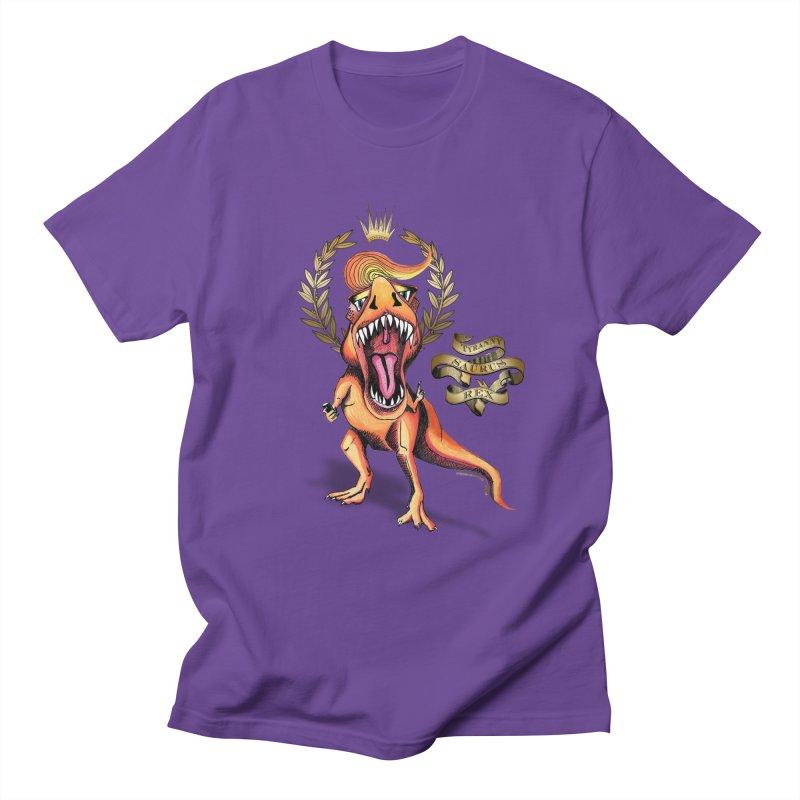Tyrannysaurus Rex in Men's T-shirt Purple by Revolution Art Offensive