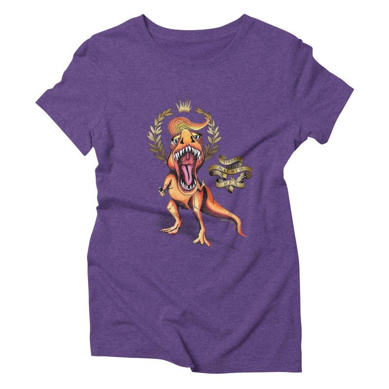 Tyrannysaurus Rex in Women's Triblend T-shirt Tri-Purple by Revolution Art Offensive