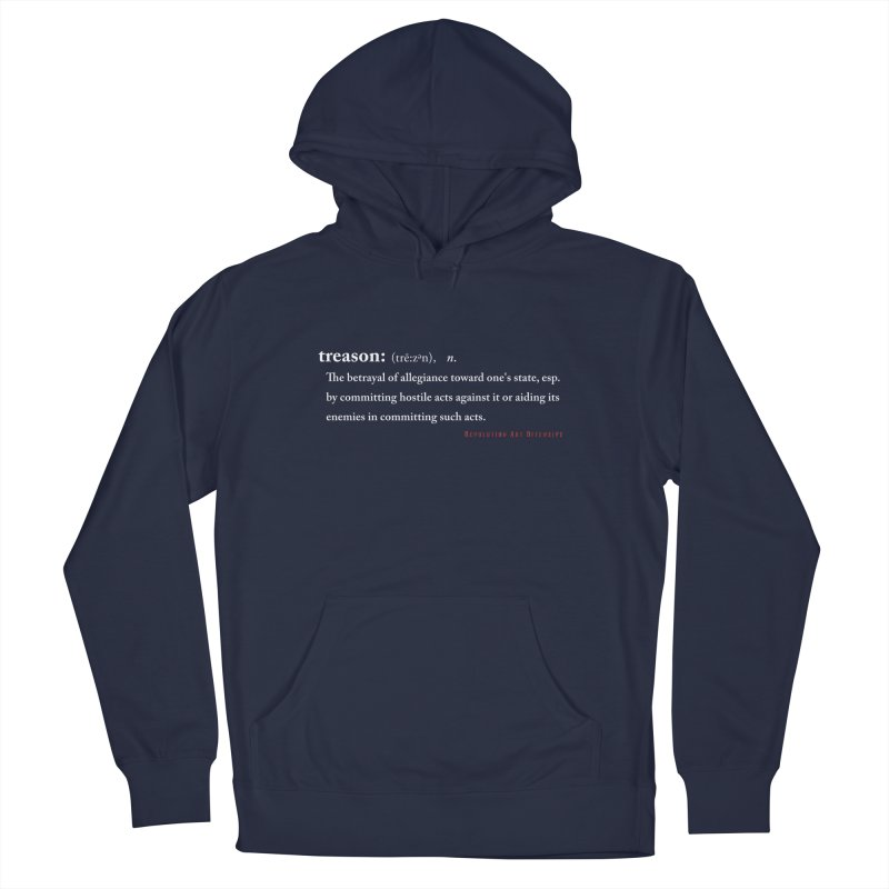 Treason White in Men's Pullover Hoody Navy by Revolution Art Offensive