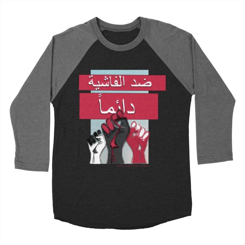 Always Antifascist BW Arabic in Men's Baseball Triblend Longsleeve T-Shirt Grey Triblend Sleeves by Revolution Art Offensive