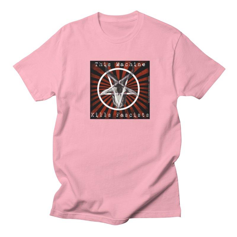 This Machine Kills Fascists Pentagram in Women's Unisex T-Shirt Light Pink by Revolution Art Offensive
