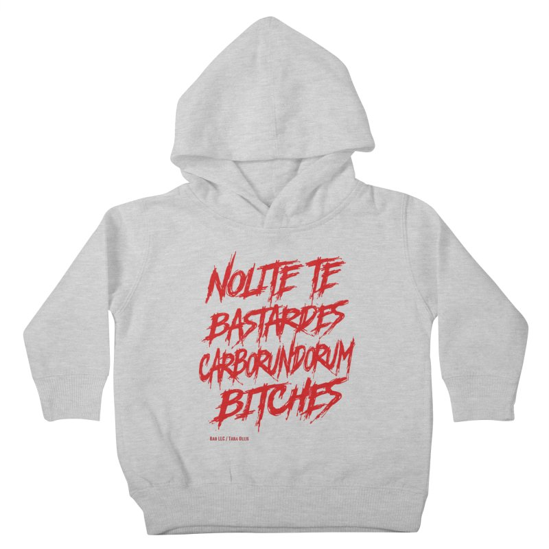 Nolite Te Bastardes Bitches Handmaid'sTale ReproRights RED Kids Toddler Pullover Hoody by Revolution Art Offensive